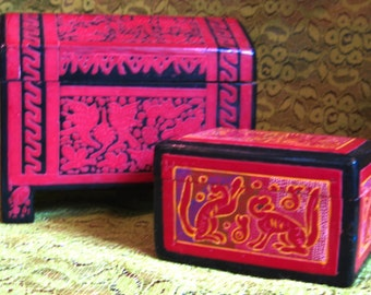 Take 20% Off TWO Vintage Decorative Asian Wax & Enamel Wood Treasure Boxes