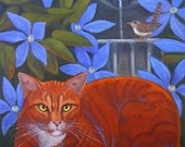 Orange Tabby Cat guards garden fountain with blue clematis flowers and wren bird Pet portrait commissions available