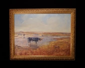 Range Steer with coyote at water hole on Prairie landscape Traditional western theme