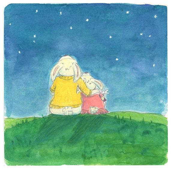 Bunny, Love, Mother and Daughter, Rabbit, Star Gazing, Children's Art, New Baby, Nursery wall decor, Watercolor Print
