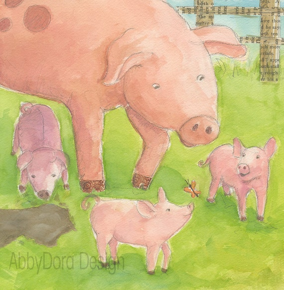 Pig, Mother and babies, Nursery Art, Pink,Piglets, Farm animals, Butterfly, Watercolor, Print