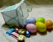 White Plastic Canvas Chinese Take Out Container With Six Candy Filled Easter Eggs