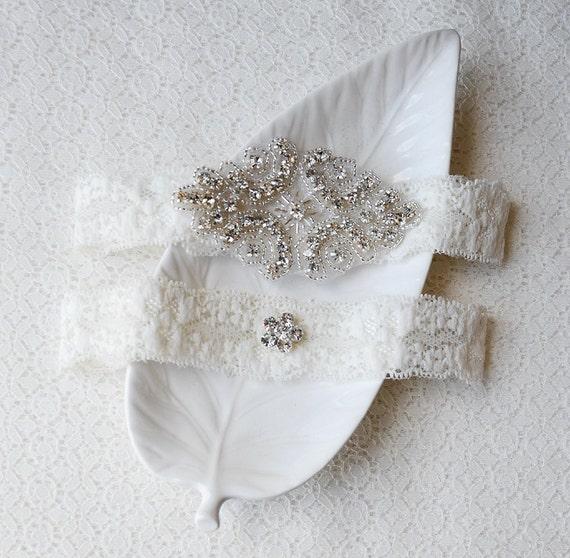 Beach Wedding Garter: Wedding Garter Bridal Garter Set Ivory Lace Garter Belt
