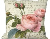 Pink Dewdrop Roses  in Choice of in Choice of 14x14 16x16 18x18 20x20 22x22 24x24 26x26 inch Pillow Cover