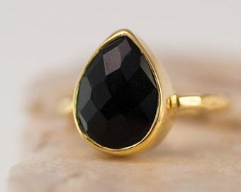Black Onyx Ring Gold, Solitaire Gemstone Ring, Stacking Ring, Black Stone Ring, Tear Drop Ring, Statement Ring, Bezel Ring, Gift For Her