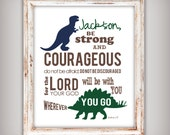 Boy's Scripture Verse Art Print - Be Strong and Courageous Joshua 1:9 - Dinosaur Theme - Blue and Green - Select your size