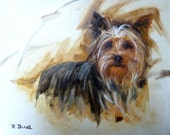 Yorkshire Terrier Dog Painting- Dog Portrait- Dog Art- Original Oil- Pet Art