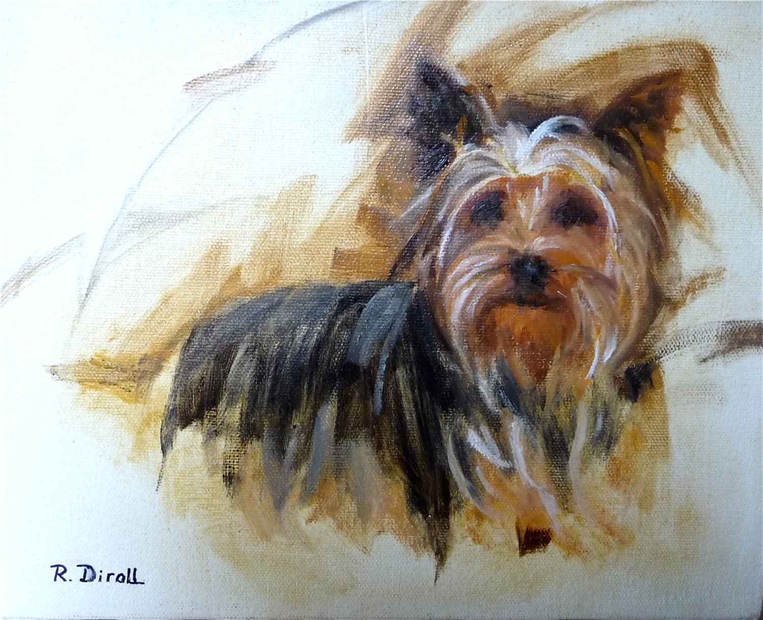 Yorkshire terrier dog painting dog portrait dog art for Dog painting artist