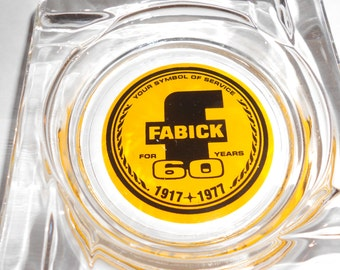 """Advertising Ashtray 70s Yellow """"Fabrik"""" Logo Design With Advertising for 60 Years Of Service"""