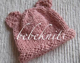 Hand Knit Organic Cotton Pink Teddy Bear Hat
