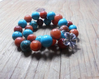 Beaded Bracelet, Memory Wire Bracelet, Howlite and Aventurine Gemstone Bracelet, Turquoise and Carmel , Tribal, SW