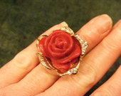 On Sale Large Red Rose and Rhinestone Ring, Bling, Statement Ring