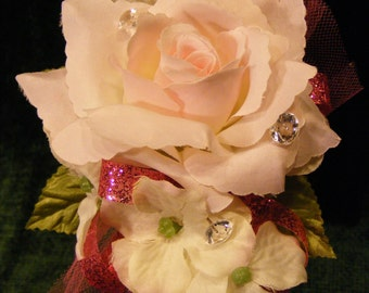 OOAK Blush Pink Rose Wrist Corsage with Hydrangea Blossoms, Wedding , Prom, Mother, Ball, Recital