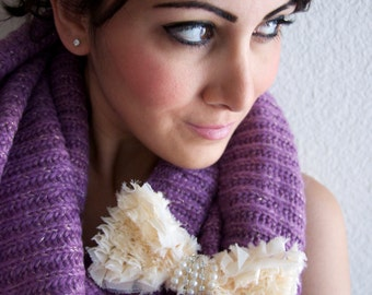 Chunky Muave Infinity Scarf - Winter Muave Infinity scarf w/ Detachable Black Ruffle Bow Clip/Pin