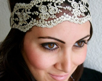 Lace Stretch Headband - Champagne Gold Floral Lace Stretch Headband