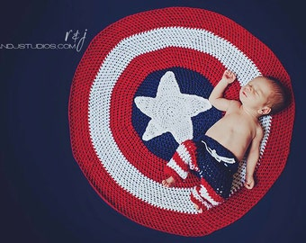 Crochet Shield Newborn Prop Blanket and Pants
