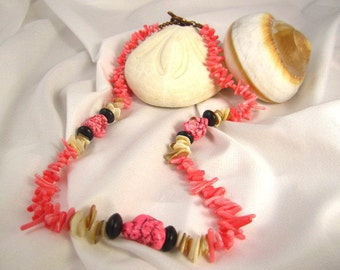 Beach Pink Coral and Bright Pink Coral Howlite with Wood and Shell Necklace tiger ebony beads natural shell