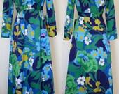Maxi Dress NOS Tori Richards Hawaiian Print Late 60s Early70s Floor Length Vintage Dress Bright  Pattern Flowers Blue Green Yellow Fun Bold