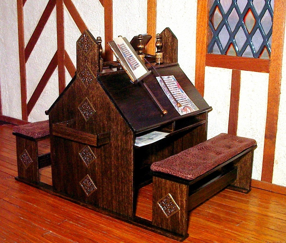 Medieval Scriptorium Desk Dollhouse Miniature 1 12 Scale