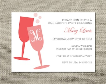 Champagne Monogram Bachlorette Party Invitation