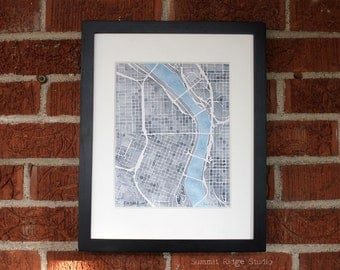 10x8 Print Portland Oregon watercolor map decor white gray and turquoise