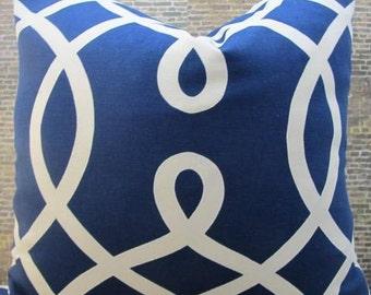 Designer Pillow Cover - 16 x 16 - Loop de loop Navy