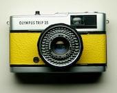 Olympus Trip 35 - refurbished 1970s film camera, yellow