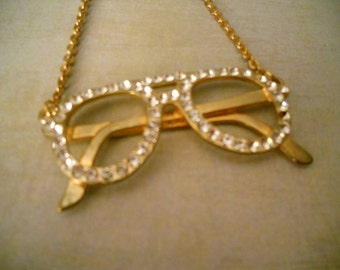 Funky and Fun Eyeglass Rhinestone Pendant Necklace - A Little Bling