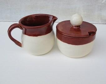 Ceramic Cream & Sugar Set // Handmade Pottery Sugar and Cream Serving Set // Rustic Red