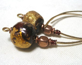 Hoop Earrings Hammered Brass with mixed wire and African Trade Beads
