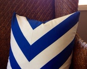 "20"" Wide Stripe Chevron Royal Blue-Pillow Cover"