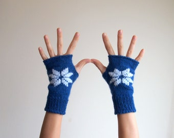 Fingerless mittens, cobalt blue gloves with white winter flower