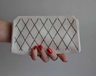 Vintage 1960s Faux Pearl Clutch - Harlequin Beaded Purse - Wedding Bridal Fashions