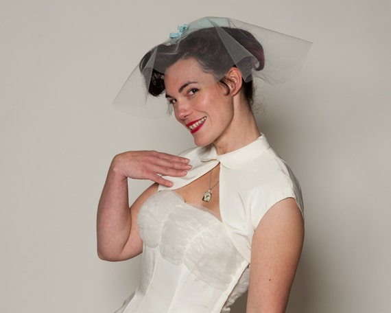 RESERVED Vintage 1960s Wedding Veil Hat Blue Bow Cocktail Birdcage Halo Mad Men Bridal Fashions