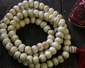 White Ocean Magic: Natural Nepali Conch Shell Beads 18x14mm, , 108 beads, Nautical Boho Yoga Mala Fashion, Jewelry Making Supplies