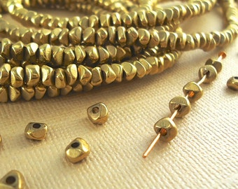 20 Brass Spacer Disk 4mm Faceted Nugget Chip Beads Polished from India BOHO Natural Beads , Featured in Etsy Finds
