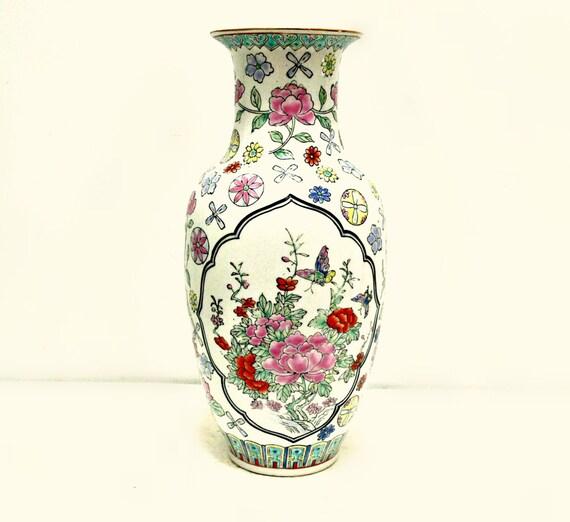 Vintage Porcelain Vase - Chinese Floral