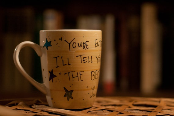 "Lewis Carroll, Alice in Wonderland ""You're entirely bonkers"" Glazed, bright yellow literary quote mug with stars"