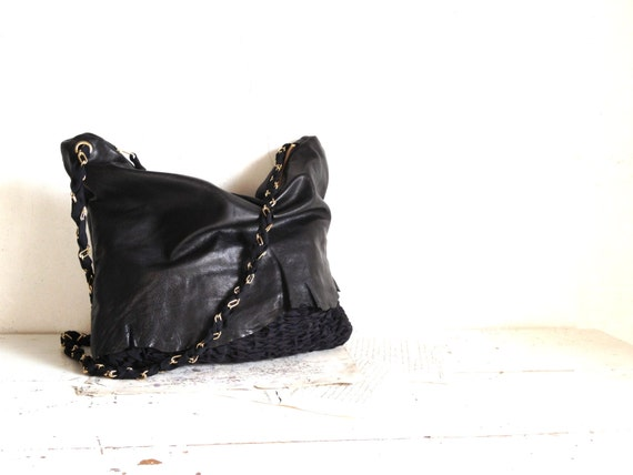 Black Slouchy Soft  Boho Purse  in Luxury Leather and Handweave with Chain - Handwoven to Order