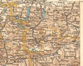 1905 Antique Dated Map of Salzburg and Salzkammergut, Austria - CabinetOfTreasures