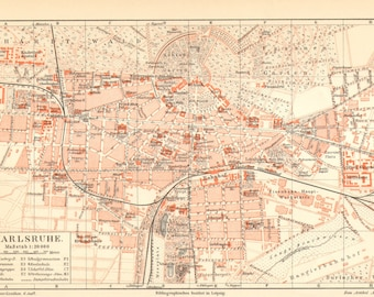 1905 Original Antique City Map of Karlsruhe or Carlsruhe, Baden-Württemberg, Germany