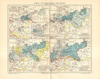 1905 Antique Historical Map showing the Expansion of Prussia 1688-1866