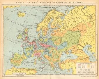 1895 Original Antique Population Density Map Of Eu