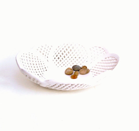 Vintage Bowl White Ceramic Basket Woven Pottery Portugal 1960s