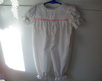 Jumpsuit,  Pink Rosebuds, Infant Sizes 3 mos. to 12 mos.