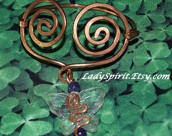 Copperwork Celtic Heart Butterfly Bracelet with Purple Dragon Vein Agate Accent