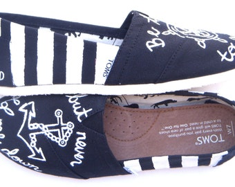 The Anchor Remix - Black and White Striped Custom TOMS