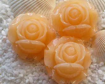 Resin Rose Flower Cabochon -  20mm - 3 pcs - Peach
