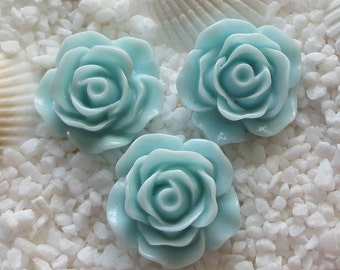 Resin Flower Cabochon - 19mm - 12 pcs - Pale Turquoise