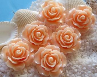 Resin Flower Cabochon - 20mm  - 12 pcs - Creamy Peach
